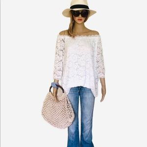 White Lace Off The Shoulder Top 3/4 Sleeve